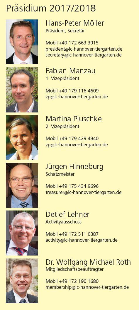 Das Präsidium des LC Hannover-Tiergarten 2017/2018