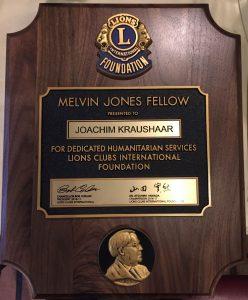 Melvin Jones Fellow (MJF) Urkunde für Joachim Kraushaar
